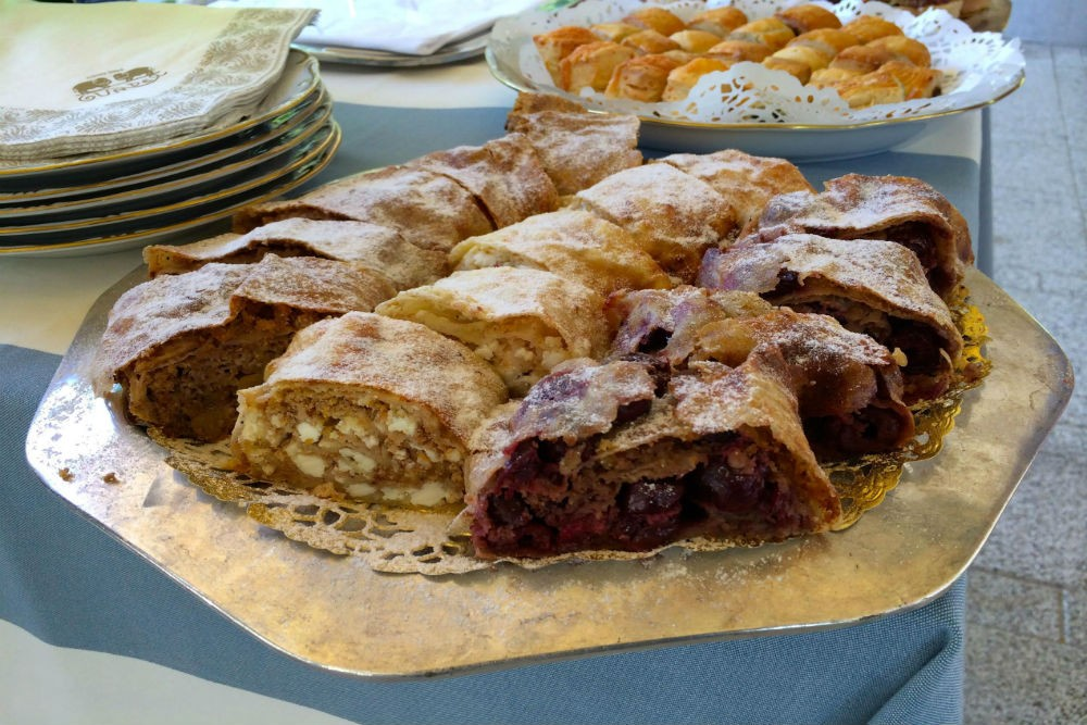 Make three types of traditional Habsburg strudel at Gundel restaurant in Budapest.