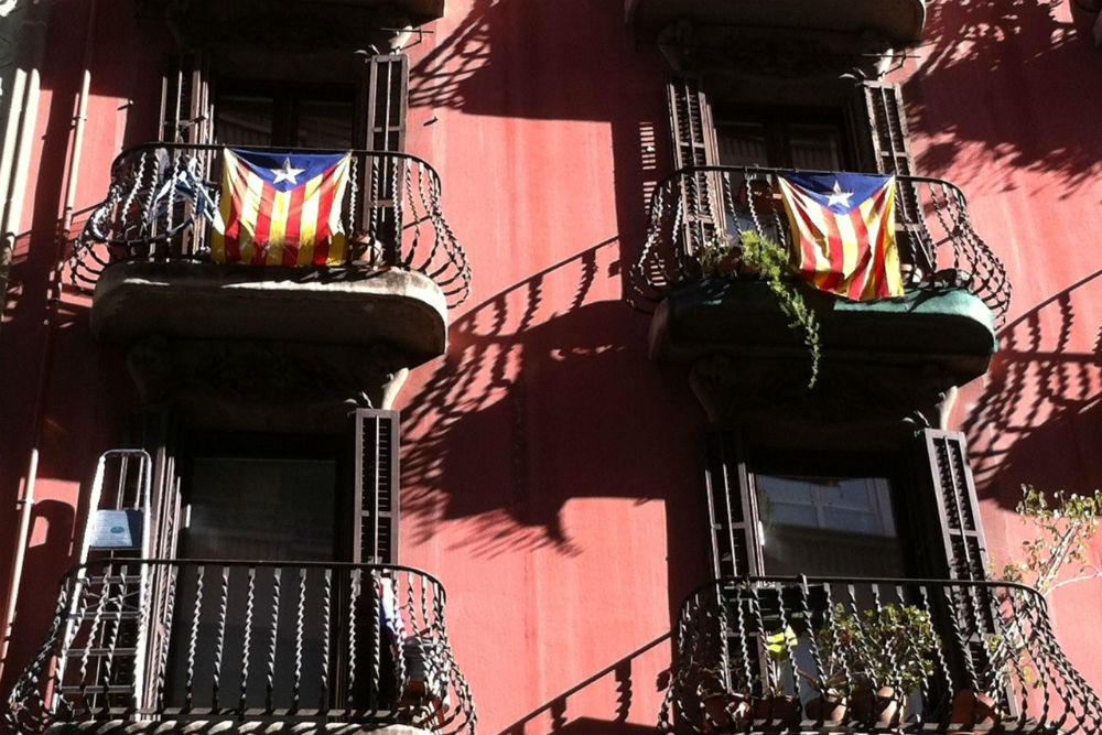 Catalan flags in Gracia, Barcelona, Spain. Photo: Context Travel