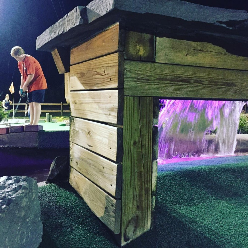 Nighttime minigolf at Chuckster's, home of the world's longest mini-golf hole. Vestal, NY