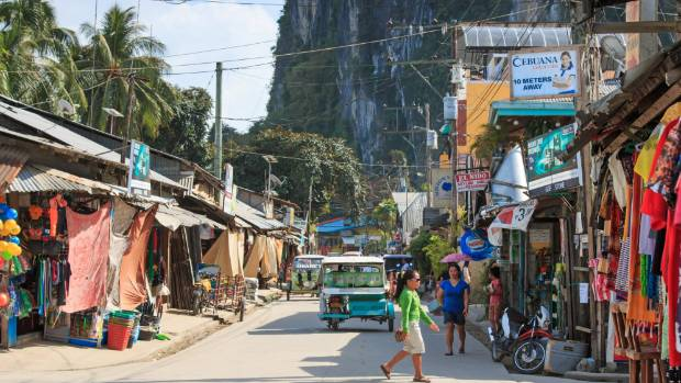 The main street of El Nido in the Palawan region.