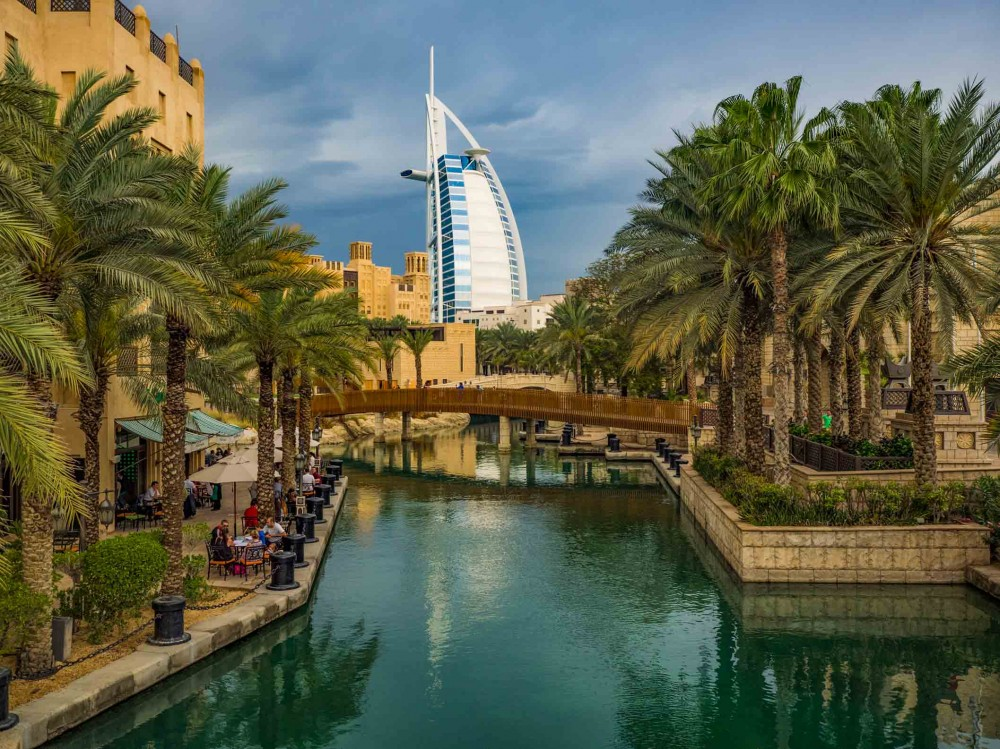 Madinat Jumeirah in Dubai with the famous Burj Al Arab hotel in the background