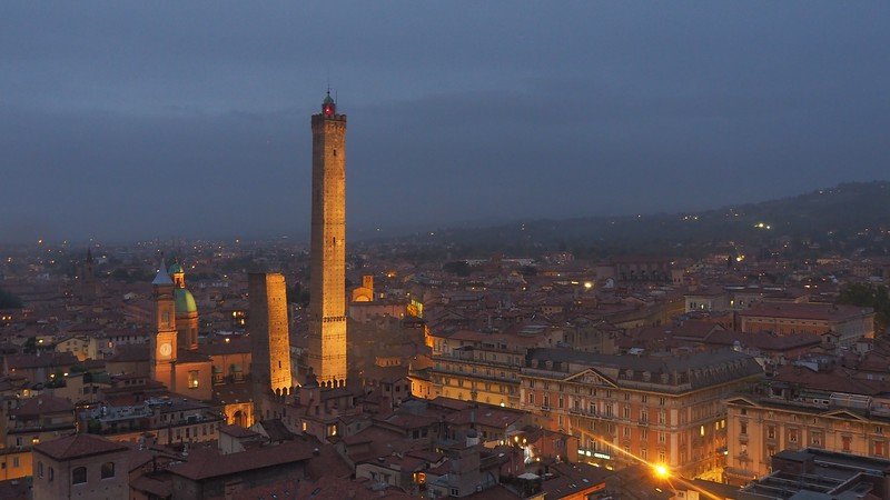 Blue hour views of Bologna, Italy in Emilia-Romagna