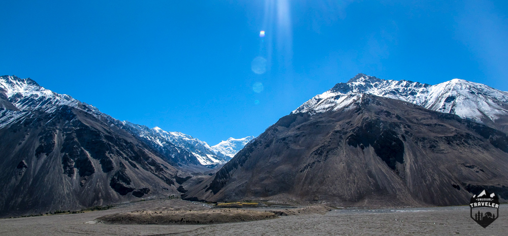 The mountains opens up on the Afghanistan side of the valley and offers view towards the Hindu Kush mountains.