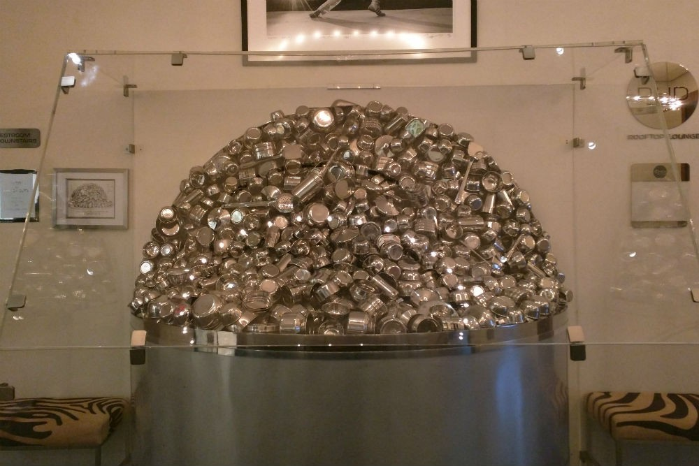 """Miter"" by Subodh Gupta, in the Dream Downtown gallery. Photo: Billie Cohen"