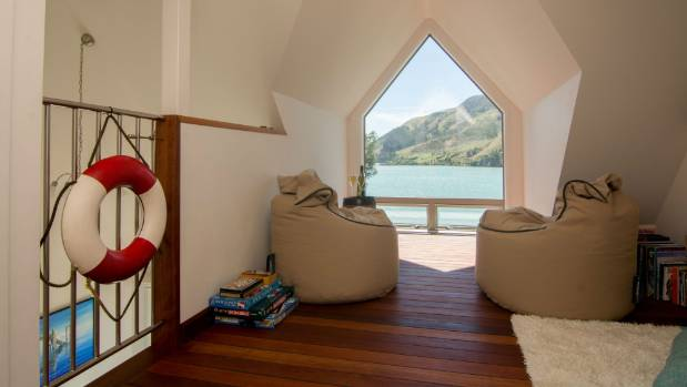 The mezzanine at the Nest, Cable Bay, overlooking the water.