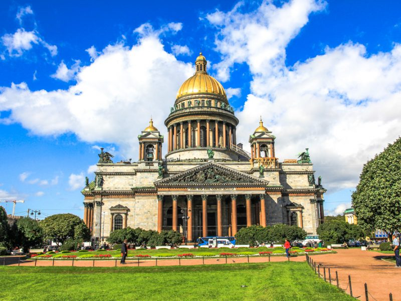 Saint Isaac's Cathedral in central Saint Petersburg.