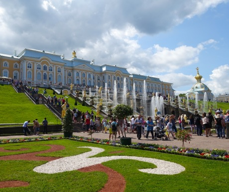 Peterhof Palace Fountains Gardens Outside St Petersburg Russia