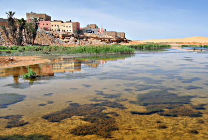 Houses reflect on the Oued Saqui el-Hamra, Laayoune