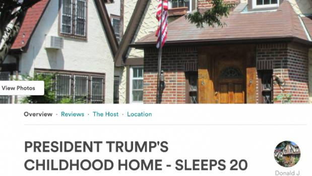 The Airbnb listing for Donald Trump's childhood home.